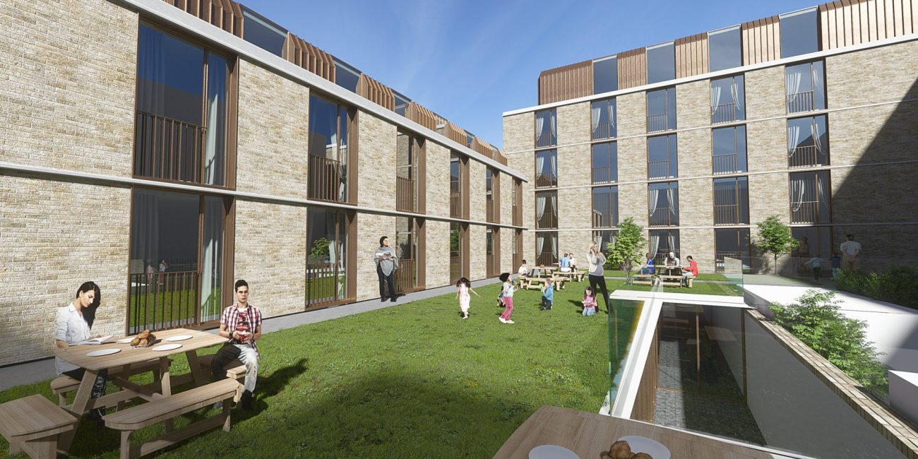 A mixed-used scheme of MELT Property at 68-86 Clapham Road Development showing the podium garden