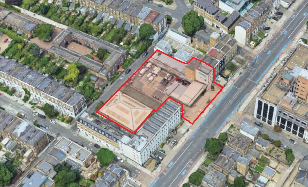 A mixed-used scheme of MELT Property at 68-86 Clapham Road Development showing the site from the South.